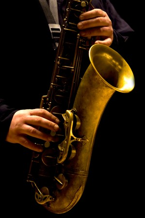 saxophonist: Man playing saxophone - Jazz music Stock Photo
