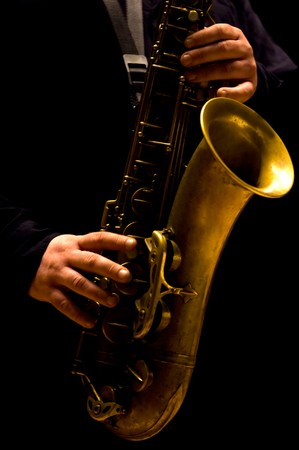 jazz music: Man playing saxophone - Jazz music Stock Photo