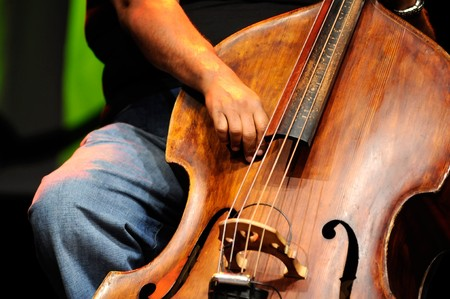 soloist: Acoustic double bass player - Classic Jazz     Stock Photo