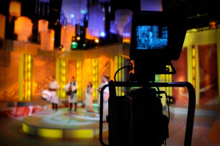 Video camera viewfinder - recording TV show in studio photo