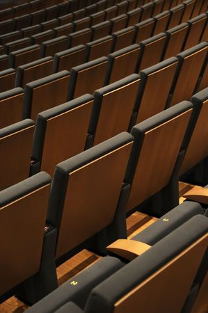 Empty chairs at cinema or theater hall