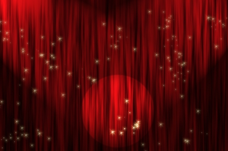 Large red curtain with spotlight Stock Photo - 15658124
