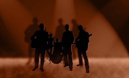 Silhouettes of rock band photo