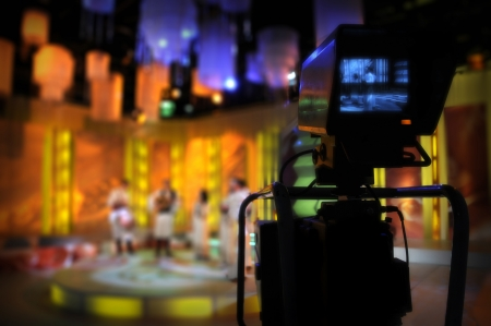 satellite tv: Video camera viewfinder - recording TV show in studio