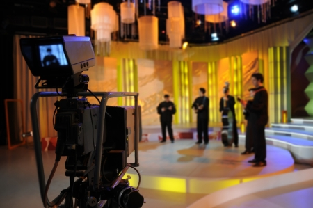 light show: Video camera viewfinder - recording TV show in studio