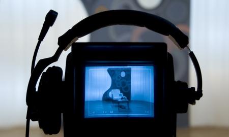 Visor de la cámara de vídeo - Grabación en estudio de televisión - hablando a la cámara
