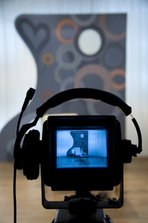 breaking news: Video camera viewfinder - recording in TV studio - Talking To The Camera