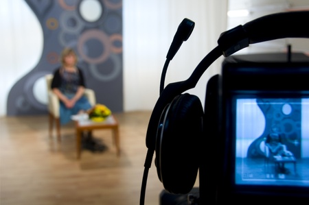 reportage: Video camera viewfinder - recording in TV studio - Talking To The Camera