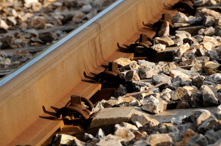 diverging: Close-up of details of railway tracks