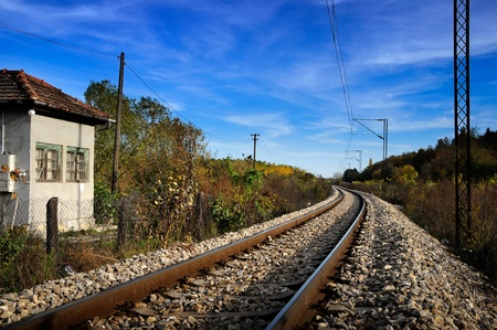 cross ties: Railroad tracks in nature        Stock Photo