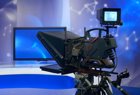 Television NEWS studio with camera