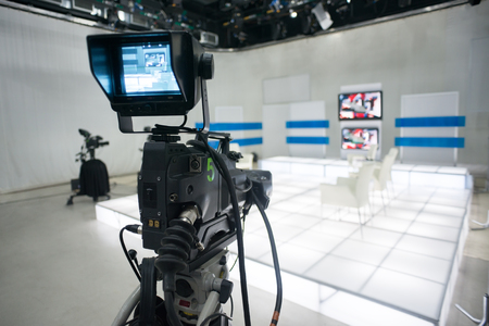 Television studio with camera and lights Stock Photo - 28384971