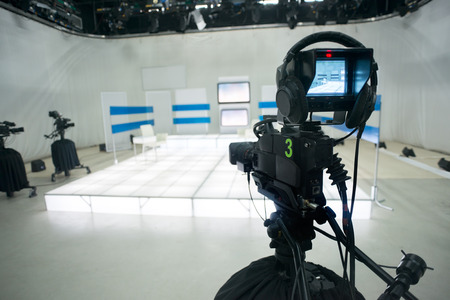 Television studio with camera and lights Stock Photo - 28385065
