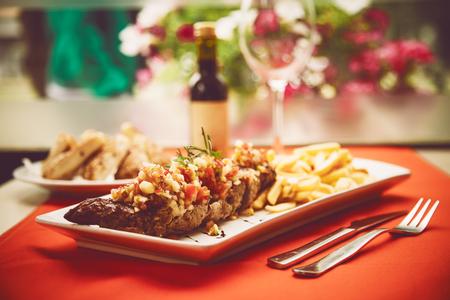 TUSCAN STEAK Pork Chops Stock Photo