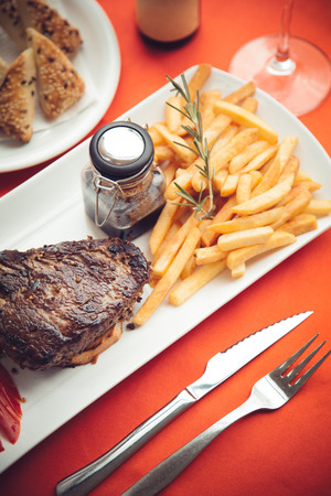 Grilled beef steak with side dish