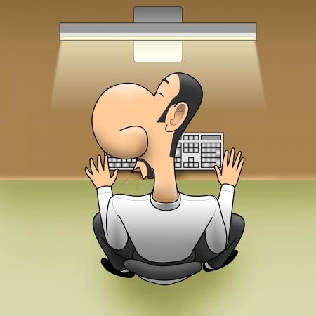 inconvenient: Sleep on workplace Stock Photo