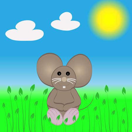 satisfied: Cute lttle mouse sitting in de sun