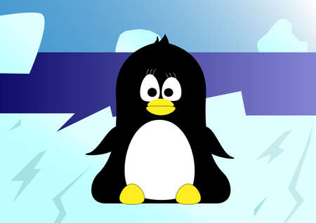 iciness: Sweet little penguin siiting on an iceberg