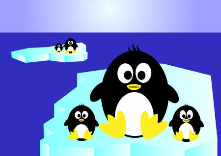 iciness:  penguin sitting on an iceberg Stock Photo