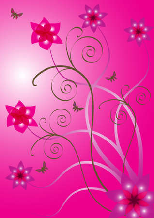 Beautiful abstract vector flower design with butterflies photo