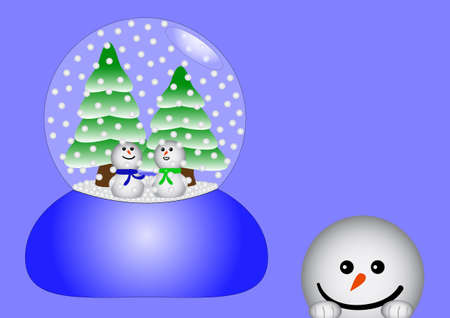glas: Two happy snowmen together in a glass