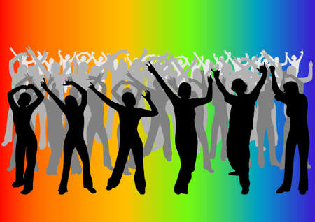 happy young people: Happy young people dancing in a disco Illustration