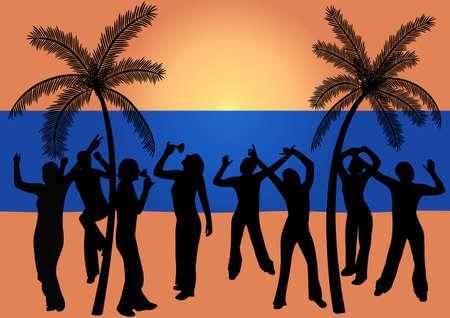 Happy young people dancing at the beach Vector