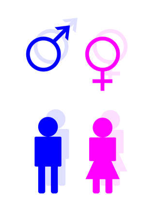 either: Blue and pink toilet symbols for male and female
