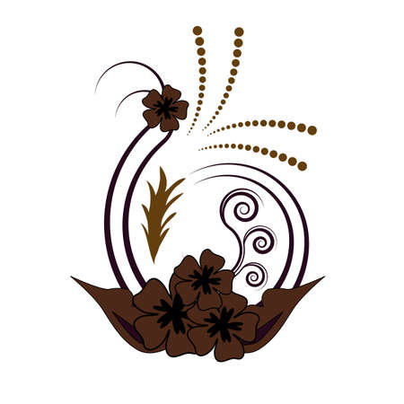 Beautiful brown curly floral flower vector design Vector