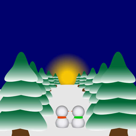 Two snowmen in love watching the sunset Vector