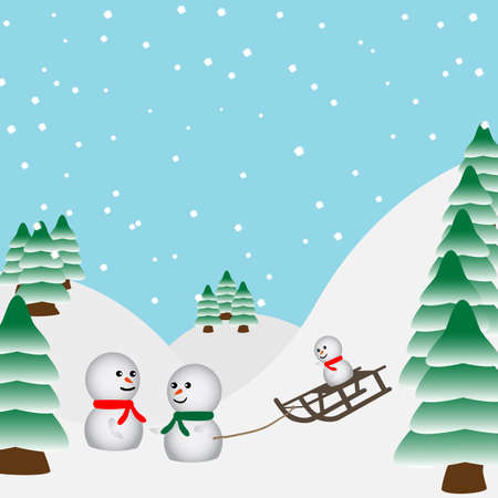 luge: Snowmen  playing in the forest with a sled Illustration