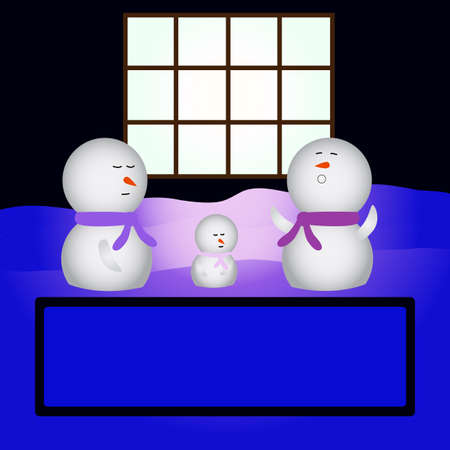 snowmen sleeping in front of a house Stock Vector - 1463426