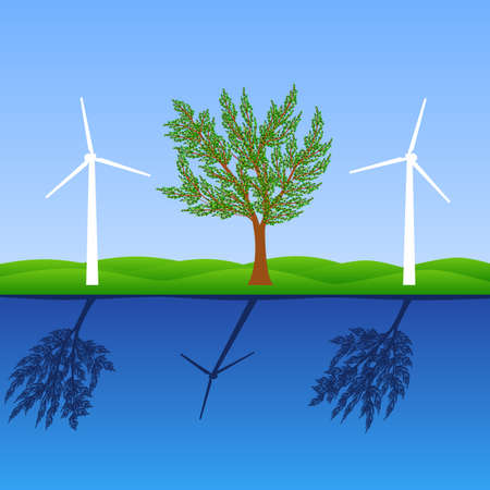 Make the world a greener place with windmills photo