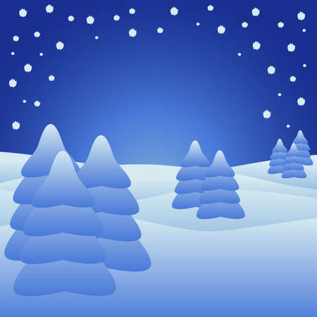 Silent night with christmastrees in the snow Vector