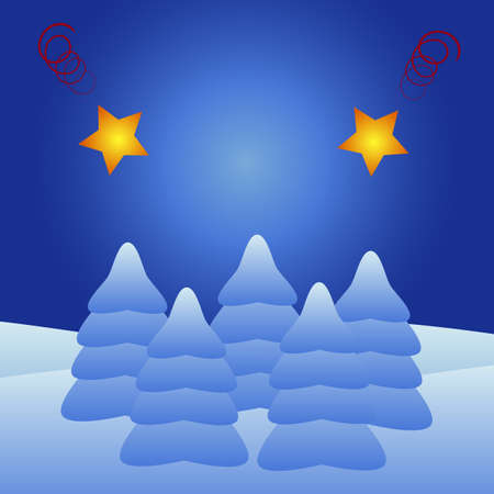 epiphany: Silent night with Christmas trees and stars Illustration