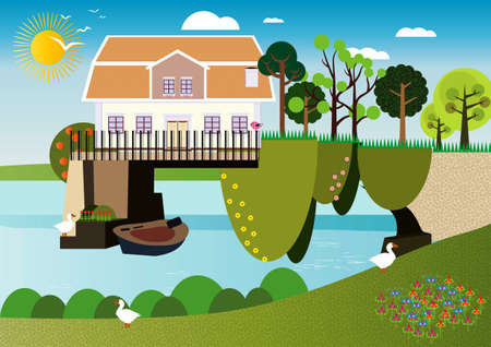 pastoral: A house over the water Stock Photo