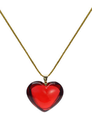 pendants: Red heart shape gemstone pendant with gold chain on white background Stock Photo