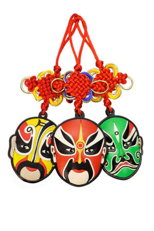 Colorful Chinese new year traditional opera mask ornaments on white background Stock Photo - 9593388