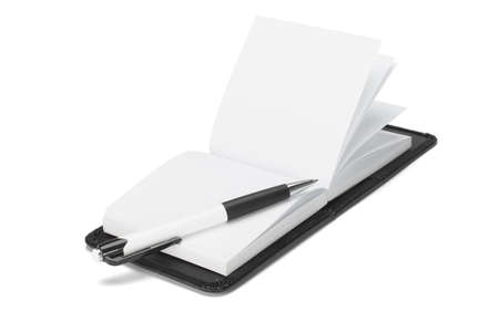Ball point pen and open note pad on white background photo