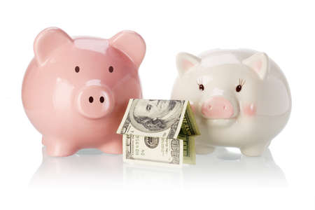 Pair of piggy banks with money house on white background photo