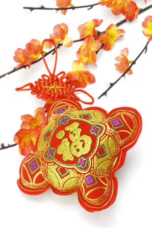 Close up of Chinese New Year traditional ornament and plum blossom on white background photo