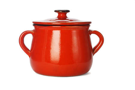 Red clay pot with lid on white background Stock Photo