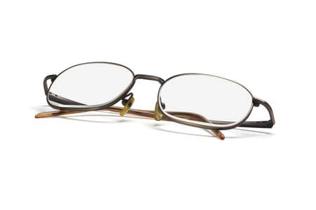 myopic: Metal frame eye glasses isolated on white background