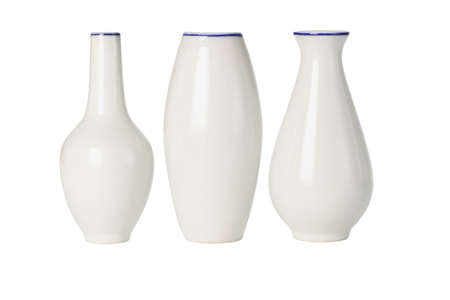 Chinese Porcelain Vases Of Various Shapes On White Background Stock