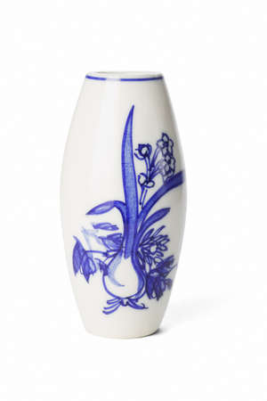 Chinese porcelain vase with floral painting on white background photo