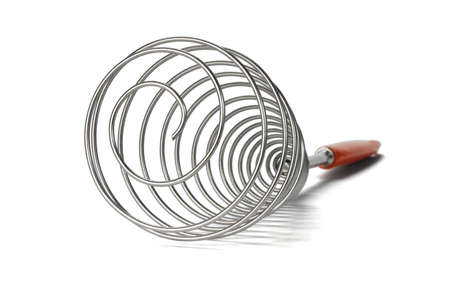 single whip: Close up of stainless steel whisk on white  background Stock Photo