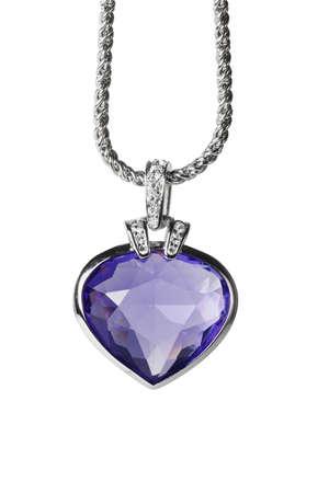 medaglione: Argento ciondolo e in pietra a forma di cuore blu su sfondo bianco