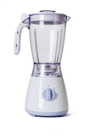 Empty electric blender on white background photo