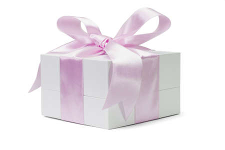 blank box: Gift box with large pink bow ribbon on white background Stock Photo