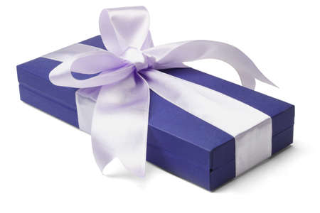 box big: Blue gift box with big bow ribbon on white background
